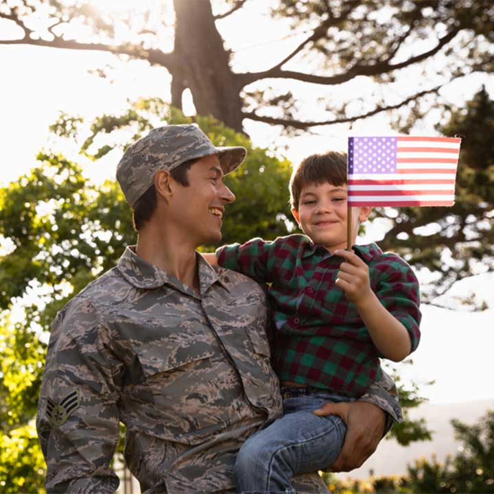 Veteran soldier with child holding American flag.