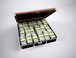 A suitcase full of money.