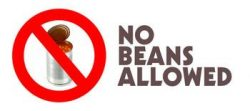 No beans allowed sign.