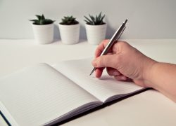 A person writing in a blank journal.